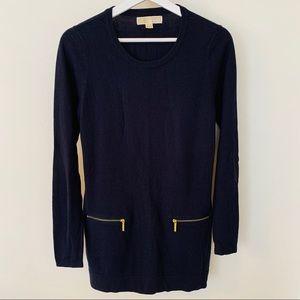 [Michael Kors] Navy Cotton & Angora Tunic Dress S